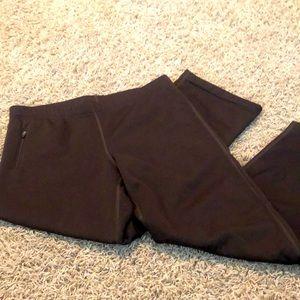 Athleta Fleece Lined Brown Pants Size Large Petite